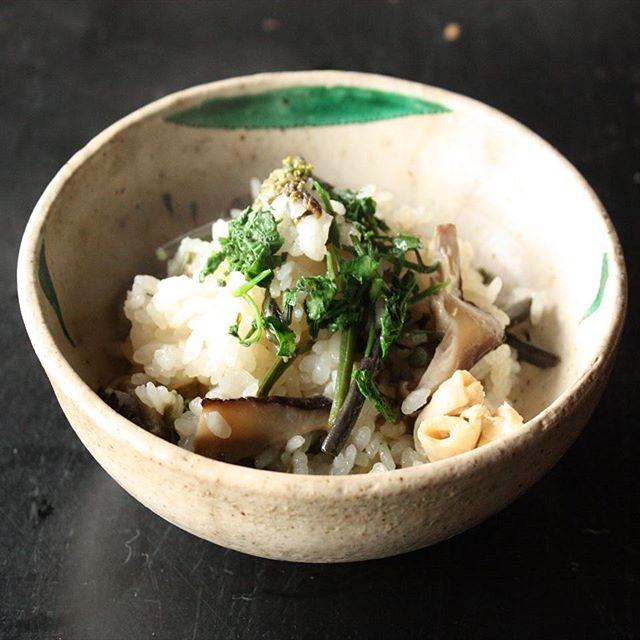 しいたけレシピ_しいたけと山菜の炊き込みご飯