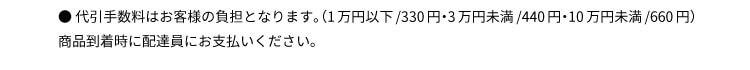 ● 代引手数料はお客様の負担となります。(1万円以下/324円・3万円以下/432円)商品到着時に配達員にお支払いください。
