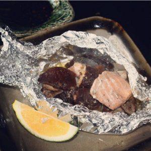 しいたけと鮭白子のバター焼き3