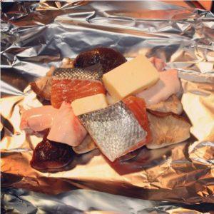 しいたけと鮭白子のバター焼き1